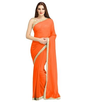 Orange plain brocade saree with blouse