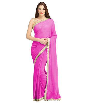 Pink plain brocade saree with blouse