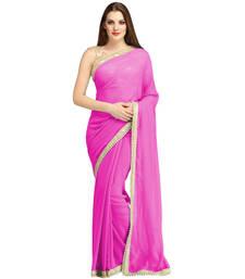 Buy Pink plain brocade saree with blouse brocade-saree online