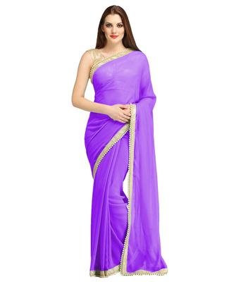 Purple plain brocade saree with blouse