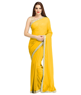 Yellow plain brocade saree with blouse