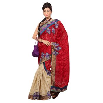 Hypnotex Super Coat Cotton Silk and Net Jacquard Maroon and Cream Color Designer Saree Richee8164A