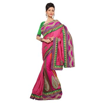 Hypnotex Manipuri Silk Heavy Taar and Patli Net Pink Color Designer Saree Richee8240A