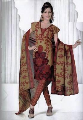 Elegant Spun Cotton Designer Unstitched Salwar Suit D.No 3081