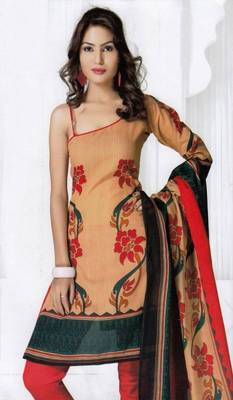 Elegant Spun Cotton Designer Unstitched Salwar Suit D.No 3082