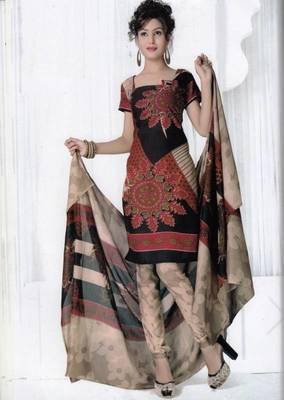 Elegant Spun Cotton Designer Unstitched Salwar Suit D.No 3086