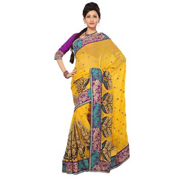 Hypnotex Pure Chiffon and Taar Skirt Border Yellow Color Designer Saree Richee9052C
