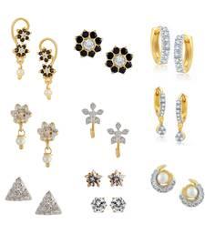 Buy Black Combo of 2 Bali, 6 Studs Earrings & 2 Solitaire Earrings combo-earring online