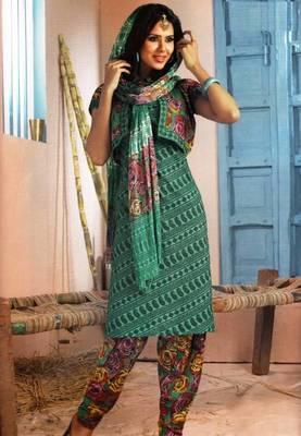 Elegant Lawn Cotton Designer Unstitched Salwar Suit With Chiffon Dupatta D.No BPK1015