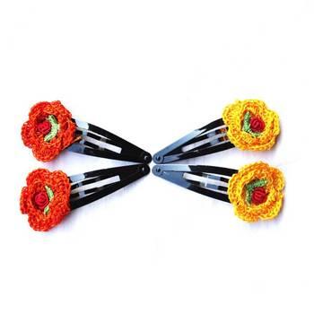 Hair Pins with Crochet Motifs | 2 Pairs | Orange & Yellow