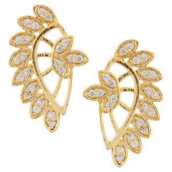 White  Gold Plated CZ Cuff Earring