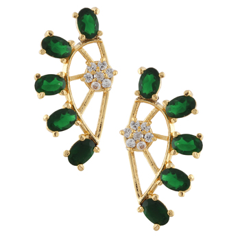 Green  Gold Plated CZ Cuff Earring