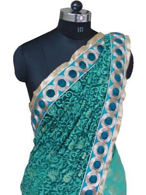 Sea Green half and half Net Georgette saree with heavy embroidery pallu