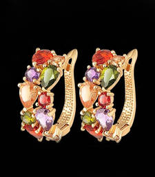 Buy Imported Gold Plated Austrian Zirconia Hoop Earrings hoop online