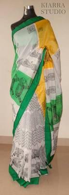 Comfortable Manipuri print cotton saree - white/ green/ yellow - KIARRA STUDIO