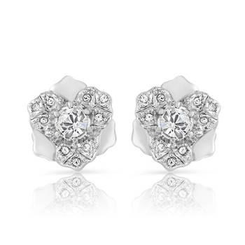 Mahi  Rhodium Plated Pure White Earrings