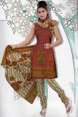 Elegant Dress Material Jute Cotton Designer Prints Unstitched Salwar Kameez Suit D.No 6208
