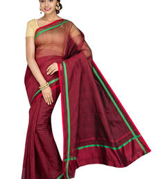 Buy Maroon plain cotton silk saree with blouse below-400 online