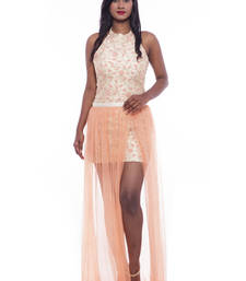 Buy Beige halter neck top with peach wrap skirt readymade-suit online