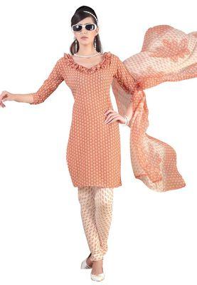 Fabdeal Light Orange & Cream French Crepe Dress Material