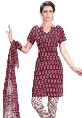 Fabdeal Maroon & White French Crepe Dress Material