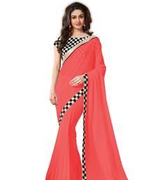 Buy Tomato embroidered chiffon Saree with Blouse chiffon-saree online