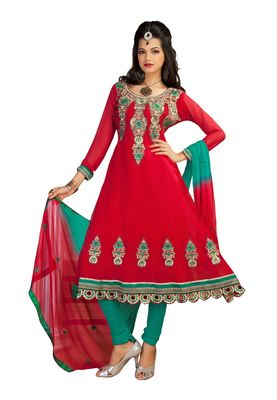 Fabdeal Red & Sea Green Faux Georgette Semi-Stitched Salwar Suit
