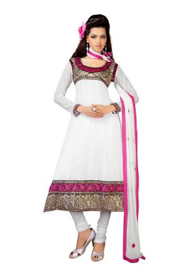 Fabdeal White Faux Georgette Semi-Stitched Salwar Suit