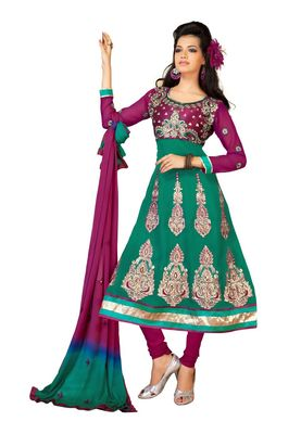 Fabdeal Sea Green Faux Georgette Semi-Stitched Salwar Suit