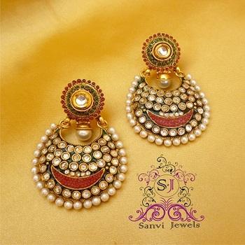 Multicolour Polki Kundan Earrings
