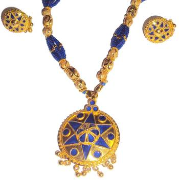 Indian Assamese Jewellery Japi Blue