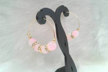aaedec2a75e0e Very pretty casual wear baby pink shade beads cz hoops style earring pair