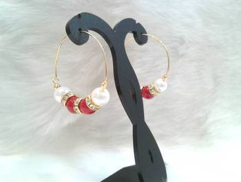 Very pretty casual wear red RUBY & PEARL beads cz hoops style earring pair