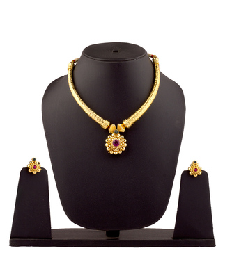 Antique Pipe Thushi 24K Gold Plated Alloy Necklace And Earring Set