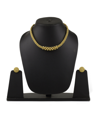Utarband Tushi 24K Gold Plated Alloy Necklace and Earring Set