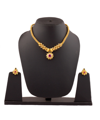 Jijamata Thushi 24K Gold Plated Alloy Necklace And Earring Set