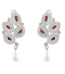 Allure Leaf Shaped Silver Earring with Multicolor Gemstone and Pearls danglers-drop