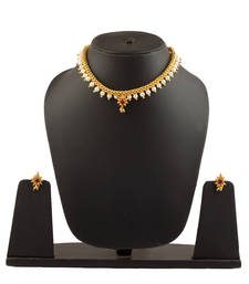 Full Jhaler White Plus Moti Thushi 24K Gold Plated Alloy Necklace and Earring Set