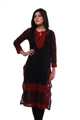37689237b8 Ada Handmade Lakhnavi Chikan Large Black Faux Georgette Lucknow Chikankari  Long Kurti-