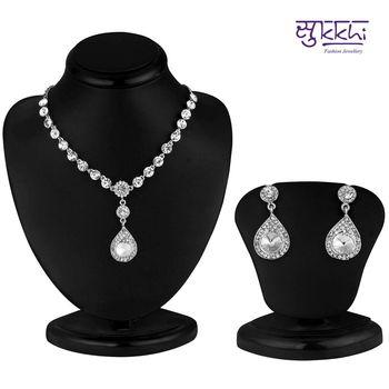 Sukkhi Graceful Rhodium plated AD Stone Necklace Set