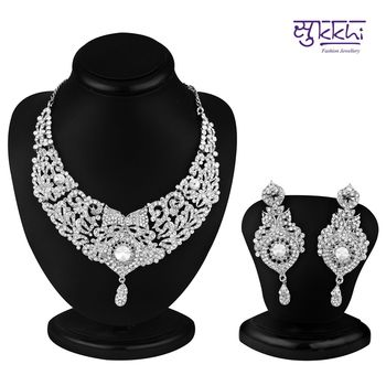 Sukkhi Delightful Rhodium plated AD Stone Necklace Set