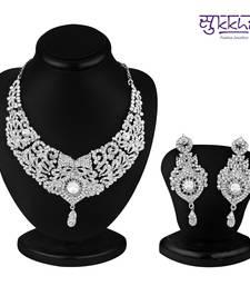 Buy Sukkhi Delightful Rhodium plated AD Stone Necklace Set Necklace online
