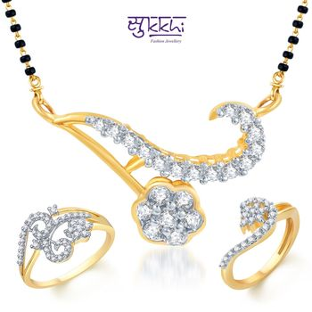 Sukkhi Teardrop Gold & Rhodium Plated CZ Combo