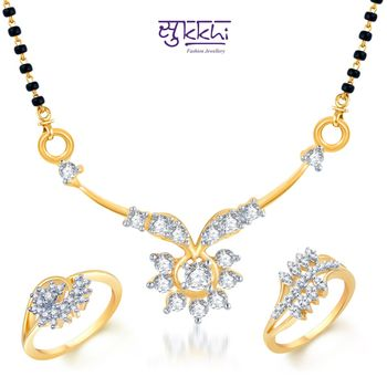 Sukkhi Intricately Crafted Gold & Rhodium Plated CZ Combo