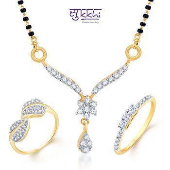 Sukkhi Sparkling Gold & Rhodium Plated CZ Combo