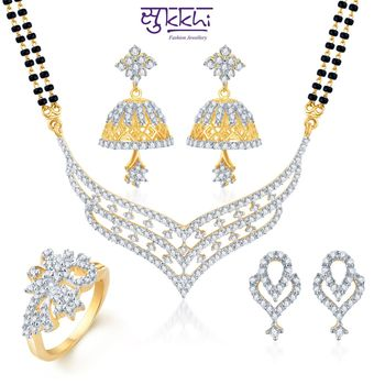 Sukkhi Floral Elegance Gold & Rhodium Plated CZ Combo