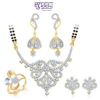 Sukkhi Attractive Gold & Rhodium Plated CZ Combo