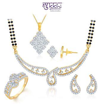 Sukkhi Charming Gold & Rhodium Plated CZ Combo