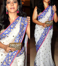 Buy Kajol White and Blue Saree net-saree online
