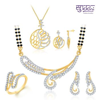 Sukkhi Exquisite Gold & Rhodium Plated CZ jewellery-combo